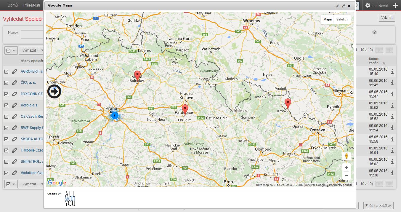 Google mapy - zobrazení společností na mapě