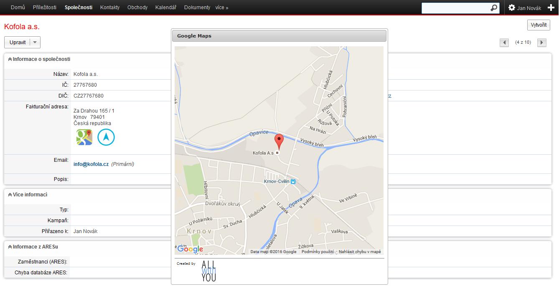 Google mapy - zobrazení mapy na kartě společnosti