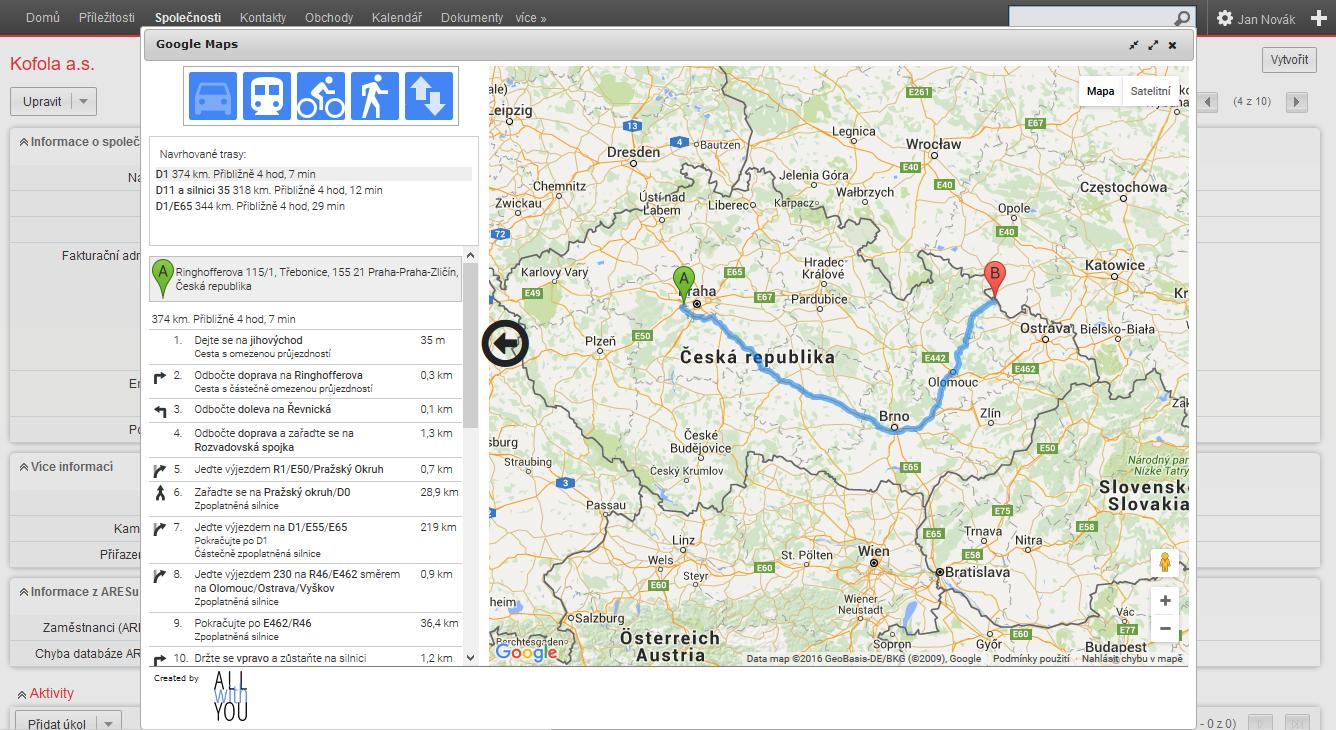 Google mapy - plánování trasy na kartě společnosti